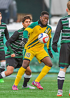 15 November 2015: University of Vermont Catamount Forward Bernard Yeboah, a Junior from Worcester, MA, in action against the Binghamton University Bearcats at Virtue Field in Burlington, Vermont. The Catamounts shut out the Bearcats 1-0 in the America East Championship Game. Mandatory Credit: Ed Wolfstein Photo *** RAW (NEF) Image File Available ***