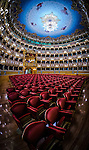 """A fisheye view of the famous La Fenice Theatre in the sestiere of San Marco in Venice, Italy. It is one of the most famous theatres in Europe, the site of many famous operatic premieres. Its name reflects its role in permitting an opera company to """"rise from the ashes"""". Since opening and being named La Fenice, it has burned and been rebuilt twice more."""