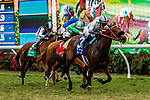 DEL MAR, CA  AUGUST 21: #3 Going Global, ridden by Flavien Prat, battles #1 Closing Remarks, ridden by Umberto Rispoli, #7 Fluffy Socks, ridden by Joel Rosario, and #5 Feathers, ridden by Abel Cedillo, in the stretch of the Del Mar Oaks (Grade 1) on August 21, 2021 at Del Mar Thoroughbred Club in Del Mar, CA.  (Photo by Casey Phillips/Eclipse Sportswire/CSM)