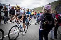 World Champion Alejandro Valverde (ESP/Movistar) 2 km from the finish in Val thorens<br /> <br /> shortened stage 20: Albertville to Val Thorens(59km in stead of the original 130km due to landslides/bad weather)<br /> 106th Tour de France 2019 (2.UWT)<br /> <br /> ©kramon