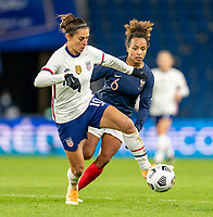 LE HAVRE, FRANCE - APRIL 13: Carli Lloyd #10 of the USWNT controls the ball during a game between France and USWNT at Stade Oceane on April 13, 2021 in Le Havre, France.