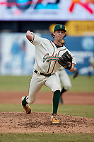 Greensboro Grasshoppers relief pitcher Garrett Leonard (38) in action against the Rome Braves at First National Bank Field on May 16, 2021 in Greensboro, North Carolina. (Brian Westerholt/Four Seam Images)