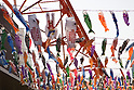 Tokyo Tower decorated with flying carp windsocks