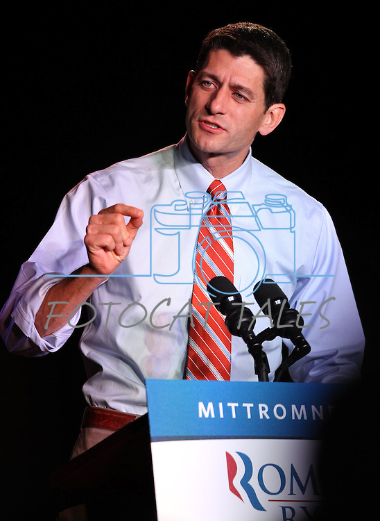 Republican Vice-Presidential candidate, Congressman Paul Ryan speaks at a campaign rally in Reno, Nev., on Thursday, Nov. 1, 2012. .Photo by Cathleen Allison