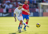 CARSON, CA - FEBRUARY 1: Paul Arriola #7 of the United States passes off the ball during a game between Costa Rica and USMNT at Dignity Health Sports Park on February 1, 2020 in Carson, California.