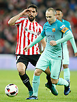 Athletic de Bilbao's Raul Garcia (l) and FC Barcelona's Andres Iniesta during Spanish Kings Cup match. January 05,2017. (ALTERPHOTOS/Acero)