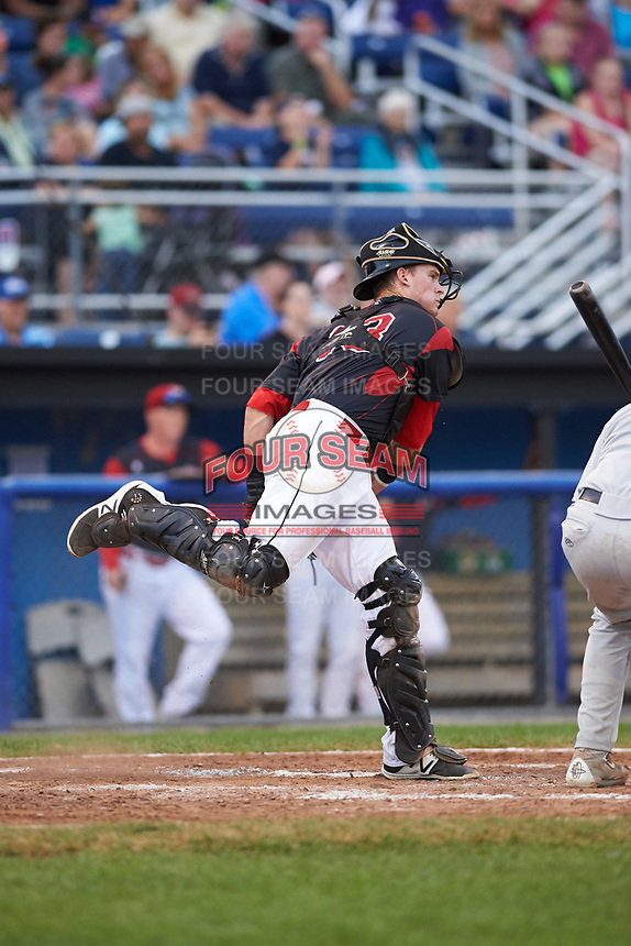 Batavia Muckdogs catcher Alex Jones (43) throws down to second base during a game against the Tri-City ValleyCats on July 14, 2017 at Dwyer Stadium in Batavia, New York.  Batavia defeated Tri-City 8-4.  (Mike Janes/Four Seam Images)