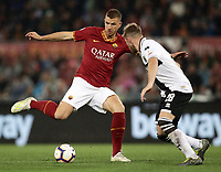 Football, Serie A: AS Roma - Parma, Olympic stadium, Rome, May 26, 2019. <br /> Roma's Edin Dzeko (l) in action with Parma's Riccardo Gagliolo (r) during the Italian Serie A football match between Roma and Parma at Olympic stadium in Rome, on May 26, 2019.<br /> UPDATE IMAGES PRESS/Isabella Bonotto