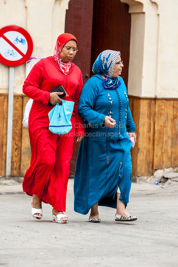 Fes, Morocco.  Two Middle-aged Ladies in Traditional Conservative Dress.