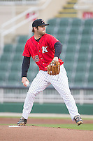 Kannapolis Intimidators starting pitcher Tyler Barnette (18) in action against the West Virginia Power at CMC-Northeast Stadium on April 29, 2014 in Kannapolis, North Carolina.  The Power defeated the Intimidators 5-2 in Game Two of a double-header.  (Brian Westerholt/Four Seam Images)