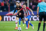 Saul Niguez Esclapez (r) of Atletico de Madrid fights for the ball with Admir Mehmedi of Bayer 04 Leverkusen during their 2016-17 UEFA Champions League Round of 16 second leg match between Atletico de Madrid and Bayer 04 Leverkusen at the Estadio Vicente Calderon on 15 March 2017 in Madrid, Spain. Photo by Diego Gonzalez Souto / Power Sport Images