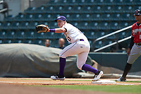 Winston-Salem Dash first baseman Andrew Vaughn (12) stretches for a throw during the game against the Carolina Mudcats at BB&T Ballpark on August 4, 2019 in Winston-Salem, North Carolina. The Dash defeated the Mudcats 7-5. (Brian Westerholt/Four Seam Images)