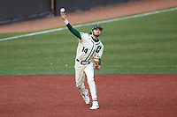 Charlotte 49ers third baseman Austin Knight (14) makes a throw to first base against the Tennessee Volunteers at Hayes Stadium on March 9, 2021 in Charlotte, North Carolina. The 49ers defeated the Volunteers 9-0. (Brian Westerholt/Four Seam Images)