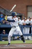 Michigan Wolverines shortstop Jack Blomgren (2) at bat against the Rutgers Scarlet Knights on April 27, 2019 in the NCAA baseball game at Ray Fisher Stadium in Ann Arbor, Michigan. Michigan defeated Rutgers 10-1. (Andrew Woolley/Four Seam Images)