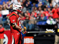 Adam Sear (12) of Maryland celebrates a goal during the Face-Off Classic in at M&T Stadium in Baltimore, MD