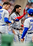 22 June 2019: Toronto Blue Jays shortstop Freddy Galvis returns to the dugout after hitting a two-run home run in the 7th inning against the Boston Red Sox at Fenway :Park in Boston, MA. The Blue Jays rallied to defeat the Red Sox 8-7 in the 2nd game of their 3-game series. Mandatory Credit: Ed Wolfstein Photo *** RAW (NEF) Image File Available ***