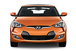 Car photography straight front view of a 2017 Hyundai Veloster Manual 5 Door Hatchback Front View