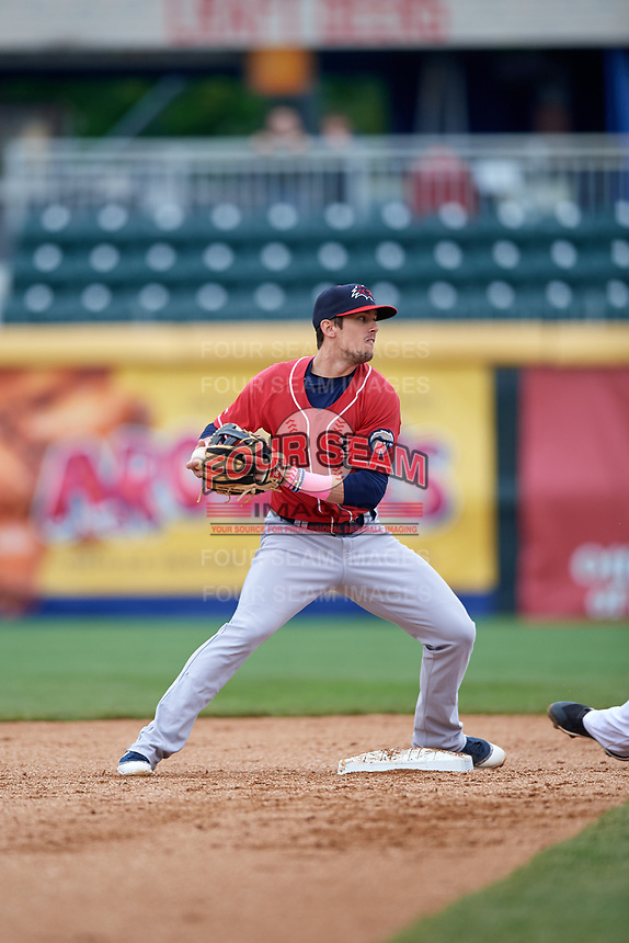 New Hampshire Fisher Cats second baseman Cavan Biggio (6) turns a double play during the first game of a doubleheader against the Harrisburg Senators on May 13, 2018 at FNB Field in Harrisburg, Pennsylvania.  New Hampshire defeated Harrisburg 6-1.  (Mike Janes/Four Seam Images)