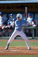 Michael Busch (15) of the North Carolina Tar Heels at bat against the Kentucky Wildcats at Boshmer Stadium on February 17, 2017 in Chapel Hill, North Carolina.  The Tar Heels defeated the Wildcats 3-1.  (Brian Westerholt/Four Seam Images)