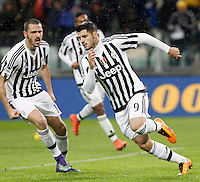 Calcio, Serie A: Juventus vs Inter. Torino, Juventus Stadium, 28 February 2016.<br /> Juventus' Alvaro Morata, right, celebrates with teammate Leonardo Bonucci after scoring on a penalty kick during the Italian Serie A football match between Juventus and Inter at Turin's Juventus Stadium, 28 February 2016.<br /> UPDATE IMAGES PRESS/Isabella Bonotto
