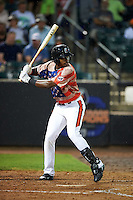 Aberdeen Ironbirds outfielder Randolph Gassaway (14) at bat during a game against the Tri-City ValleyCats on August 6, 2015 at Ripken Stadium in Aberdeen, Maryland.  Tri-City defeated Aberdeen 5-0 in a combined no-hitter.  (Mike Janes/Four Seam Images)