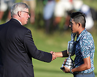 18th July 2021; Royal St Georges Golf Club, Sandwich, Kent, England; The Open Championship Golf, Day Four; Collin Morikawa (USA) is presented with the Claret Jug