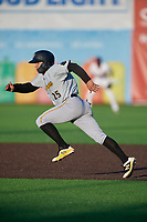 West Virginia Black Bears Fernando Villegas (25) running the bases during a NY-Penn League game against the Auburn Doubledays on August 23, 2019 at Falcon Park in Auburn, New York.  West Virginia defeated Auburn 8-1, the first game of a doubleheader.  (Mike Janes/Four Seam Images)