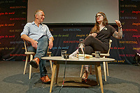 Pictured (L-R): Dr Martin Wright speaks to Sarah Corbett.<br /> Re: Hay Festival at Hay on Wye, Powys, Wales, UK. Friday 25 May 2018
