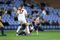 CHAPEL HILL, NC - NOVEMBER 29: Maggie Pierce #28 of the University of North Carolina tackles the ball away from Alea Hyatt #17 of the University of Southern California during a game between University of Southern California and University of North Carolina at UNC Soccer and Lacrosse Stadium on November 29, 2019 in Chapel Hill, North Carolina.