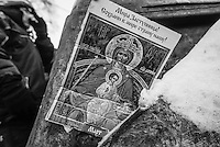 Orthodox  depictions of the Virgin Mary s  became an iconic presence in the forefront of the protest