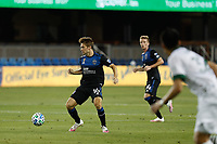 SAN JOSE, CA - SEPTEMBER 19: Jack Skahan #16 of the San Jose Earthquakes during a game between Portland Timbers and San Jose Earthquakes at Earthquakes Stadium on September 19, 2020 in San Jose, California.