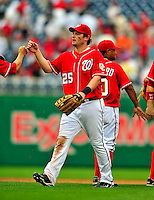 24 May 2009: Washington Nationals' right fielder Austin Kearns celebrates with teammates after a game against the Baltimore Orioles at Nationals Park in Washington, DC. The Nationals rallied to defeat the Orioles 8-5 and salvage one win of their interleague series. Mandatory Credit: Ed Wolfstein Photo
