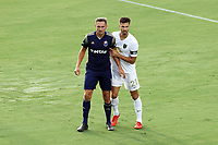 CARY, NC - AUGUST 01: Robert Kristo #11 and Alex Crognale #21 wait for a cross during a game between Birmingham Legion FC and North Carolina FC at Sahlen's Stadium at WakeMed Soccer Park on August 01, 2020 in Cary, North Carolina.