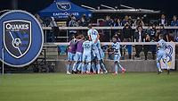 SAN JOSE, CA - MAY 22: Sporting Kansas City Players celebrate a goal during a game between San Jose Earthquakes and Sporting Kansas City at PayPal Park on May 22, 2021 in San Jose, California.