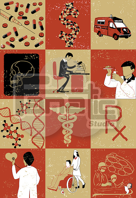 Montage of healthcare services and research