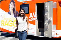 The mayor of Rome Virginia Raggi gets out her camper during a picnic at Caffarella park, in occasion of the election campaign for the new mayor of the city.<br /> Rome (Italy), September 12th 2021<br /> <br /> Photo Samantha Zucchi Insidefoto