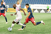FOXBOROUGH, MA - SEPTEMBER 04: Damian Rivera #72 of New England Revolution II chasing Don Smart #7 Forward Madison FC as he advances down the field during a game between Forward Madison FC and New England Revolution II at Gillette Stadium on September 04, 2020 in Foxborough, Massachusetts.