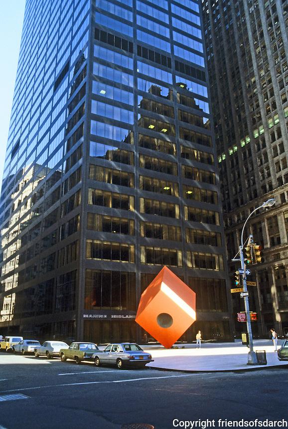 "New York: 140 Broadway, 1967. S-O-M, Gordon Bunshaft, Partner-in-Charge.  Isamu Noguchi's ""Red Cube"" sculpture."
