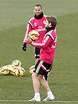 Real Madrid's Jese Rodriguez (l) and Asier Illarramendi during training session.January 30,2015.(ALTERPHOTOS/Acero)