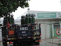 Ipojuca (PE), 27/03/2021 - Covid-Pernambuco - Chegada de cilindros de oxigênio no Hospital de Campanha de Covid na cidade de Ipojuca em Pernambuco neste sábado (27). O hospital está instalado na praia de Porto de Galinhas.