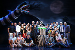 """Sophia Anne Caruso and Alex Brightman with cast during the """"Beetlejuice"""" Celebrates 100th Performance on Broadway with Big Sandy the Sandworm, Shrunken Head Guy and a cake designed by Carlo's Bakery at the Winter Garden Theatre on July 23, 2019 in New York City."""