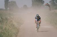 Tom Devriendt (BEL/Wanty-Groupe Gobert) leading in the dust<br /> <br /> 92nd Schaal Sels 2017 <br /> 1 Day Race: Merksem > Merksem (188km)