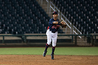 AZL Indians 2 shortstop Brayan Rocchio (24) throws to first base during an Arizona League game against the AZL Dodgers at Goodyear Ballpark on July 12, 2018 in Goodyear, Arizona. The AZL Indians 2 defeated the AZL Dodgers 2-1. (Zachary Lucy/Four Seam Images)