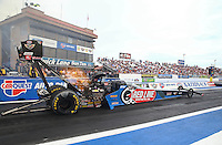 Feb 20, 2015; Chandler, AZ, USA; NHRA top fuel driver J.R. Todd during qualifying for the Carquest Nationals at Wild Horse Pass Motorsports Park. Mandatory Credit: Mark J. Rebilas-