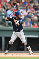 Catcher Joel Diaz (5) of the Asheville Tourists bats in a game against the Greenville Drive on Wednesday, August 2, 2017, at Fluor Field at the West End in Greenville, South Carolina. Greenville won, 1-0. (Tom Priddy/Four Seam Images)