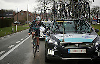 Mark Cavendish (GBR/Ettix-QuickStep) at the teamcar<br /> <br /> 70th Dwars Door Vlaanderen 2015