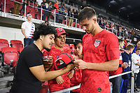 WASHINGTON, D.C. - OCTOBER 11: Matt Miazga #3 of the United States signs autographs after their Nations League game versus Cuba at Audi Field, on October 11, 2019 in Washington D.C.