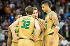 Mar. 19, 2015; The Irish huddle in the second half against Northeastern in the second round of the NCAA Tournament. Notre Dame defeated Northeastern 69-65. (Photo by Matt Cashore/University of Notre Dame)