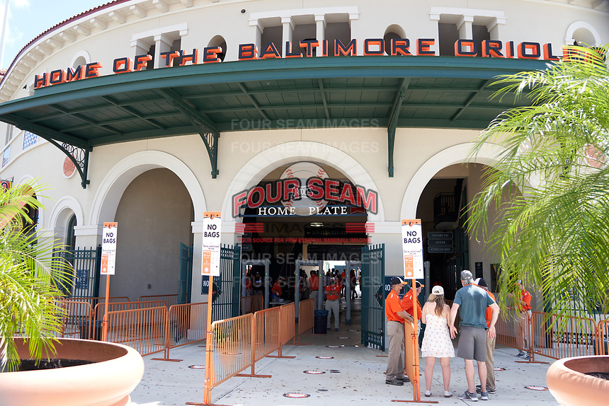 General view of the stadium entrance before a Baltimore Orioles Major League Spring Training game against the Pittsburgh Pirates on February 28, 2021 at Ed Smith Stadium in Sarasota, Florida.  (Mike Janes/Four Seam Images)