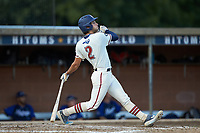 Ethan Murray (2) (Duke) of the High Point-Thomasville HiToms follows through on his swing against the Martinsville Mustangs at Finch Field on July 26, 2020 in Thomasville, NC.  The HiToms defeated the Mustangs 8-5. (Brian Westerholt/Four Seam Images)